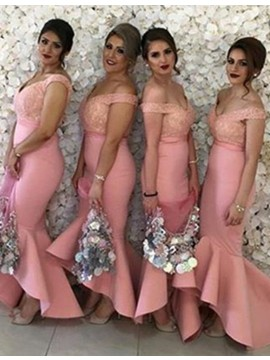 Mermaid V Neck High Low Pink Bridesmaid Dress with Lace