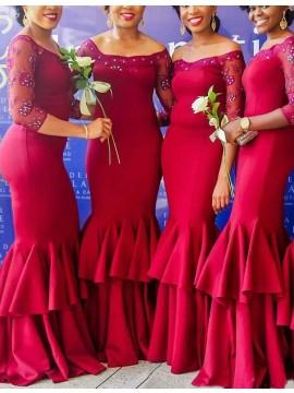 Mermaid Off Shoulder 3/4 Sleeves Burgundy Bridesmaid Dress with Beading