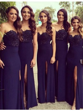 Sheath Sweetheart Floor Length Navy Blue Bridesmaid Dress with Beading Split