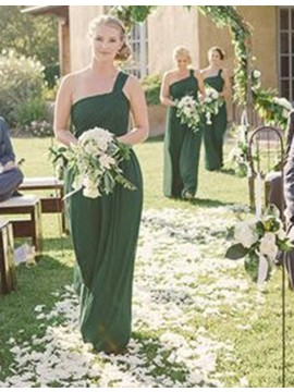 A-line One Shoulder Floor Length Pleated Emerald Bridesmaid Dress