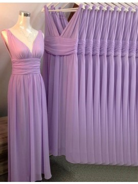 A-line V Neck Sleeveless Long Lavender Bridesmaid Dress Ruched