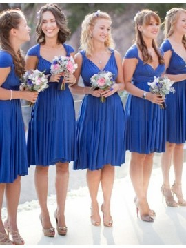 A-line V Neck Cap Sleeves Short Royal Blue Bridesmaid Dress with Pleats