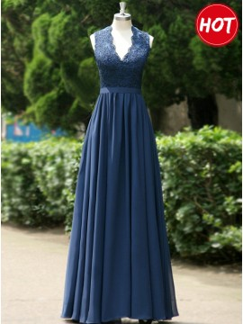 A-line V Neck Open Back Dark Blue Prom/Bridesmaid Dress with Lace Pleats