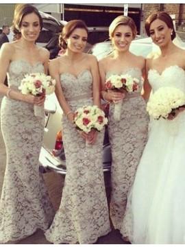Mermaid Sweetheart Sweep Train Ivory Lace Bridesmaid Dress with Sash