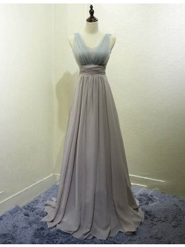 A-line Scoop Floor Length Pleated Silver Bridesmaid Dress