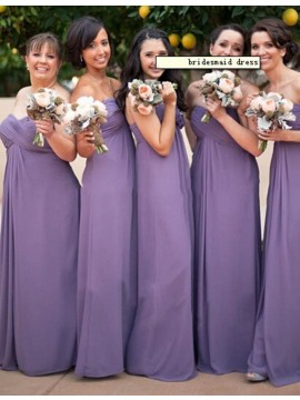 A-line Sweetheart Sleeveless Long Ruched Lavender Bridesmaid Dress