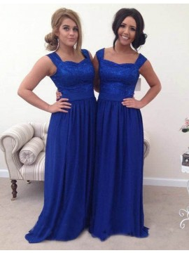 A-line Straps Long Royal Blue Bridesmaid Dress with Lace