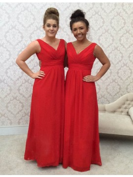 A-line V Neck Floor Length Ruched Red Bridesmaid Dress