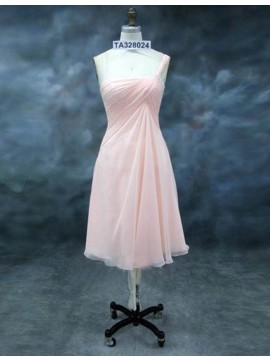A-line One Shoulder Short Ruched Pearl Pink Bridesmaid Dress