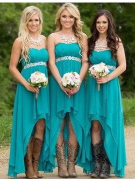 High Low Jewel Turquoise Pleated Bridesmaid Dress with Beading Pearls