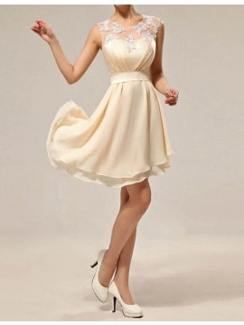 A-line Jewel Sleeveless Asymmetical Bridesmaid Dress with Lace