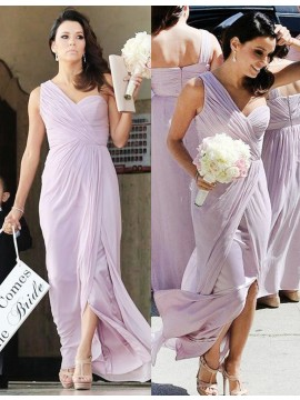A-line One Shoulder Split Floor-length Pleated Bridesmaid Dress