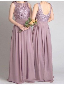 A-Line Jewel Floor-Length Blush Chiffon Bridesmaid Dress with Lace Pleats