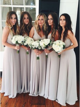 A-Line V-Neck Long Simple Light Gray Chiffon Bridesmaid Dress