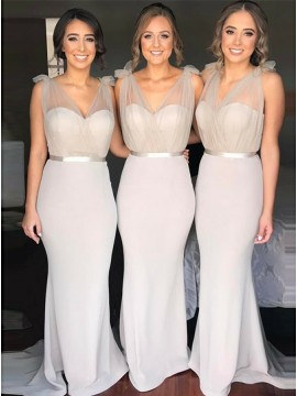 Mermaid V-Neck Sweep Train Light Gray Bridesmaid Dress with Sashes