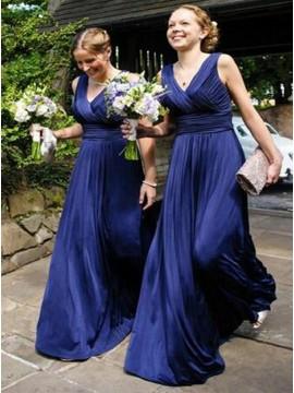 A-Line V-Neck Floor-Length Royal Blue Ruched Chiffon Bridesmaid Dress