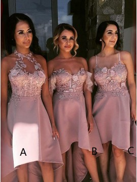 A-Line High Low Halter Blush Satin Bridesmaid Dress with Appliques