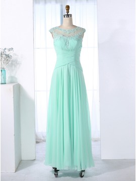 A-Line Bateau Ruched Mint Chiffon Prom Dress with Appliques Beading