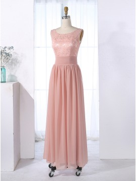 A-Line Scoop Floor-Length V-Back Pink Chiffon Prom Dress with Lace