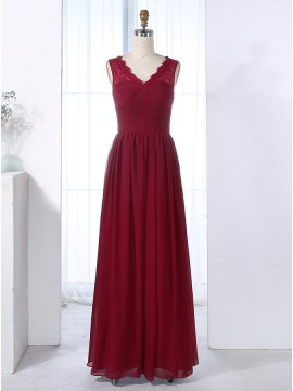 A-Line V-Neck Burgundy Bridesmaid Dress with Lace Pleats