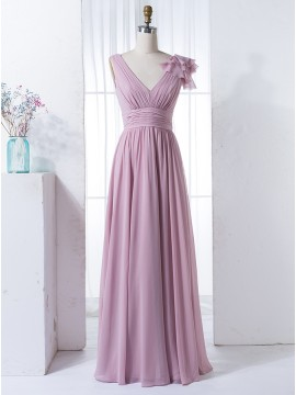A-Line V-Neck Floor-Length Blush Chiffon Bridesmaid Dress with Pleats Ruffles