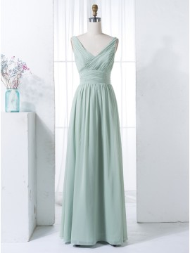A-Line V-Neck Floor-Length Mint Ruched Chiffon Bridesmaid Dress with Pleats