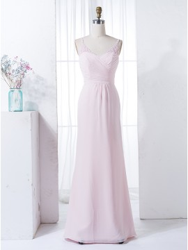 A-Line V-Neck Light Pink Ruched Chiffon Bridesmaid Dress with Appliques Beading