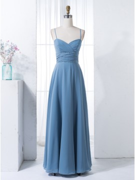 A-Line Spaghetti Straps Navy Blue Chiffon Bridesmaid Dress with Beading