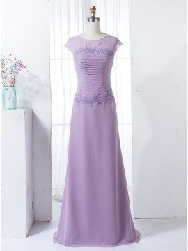 A-Line Round Cap Sleeves Lavender Ruched Chiffon Bridesmaid Dress with Appliques