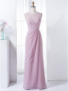 A-Line Bateau V-Back Blush Ruched Chiffon Bridesmaid Dress with Lace