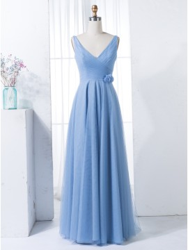 A-Line V-Neck Floor-Length Blue Ruched Chiffon Bridesmaid Dress with Pleats