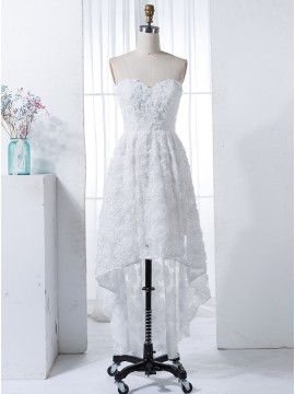 A-Line High Low Sweetheart White Lace Bridesmaid Dress with Pleats