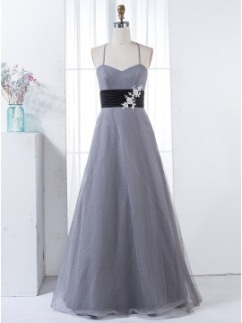 A-Line Spaghetti Straps Grey Tulle Sash Bridesmaid Dress with Appliques Sequins