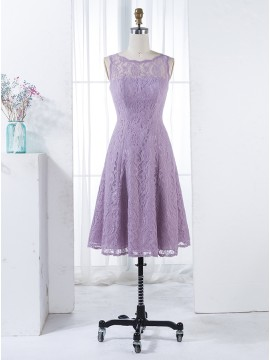 A-Line Round Neck V-Back Knee-Length Lilac Lace Bridesmaid Dress