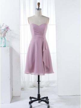 A-Line Sweetheart Knee-Length Blush Chiffon Bridesmaid Dress with Ruffles