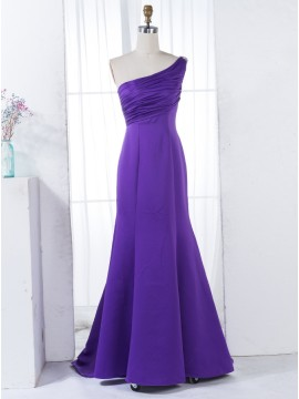 A-Line One Shoulder Sweep Train Ruched Purple Bridesmaid Dress with Beading