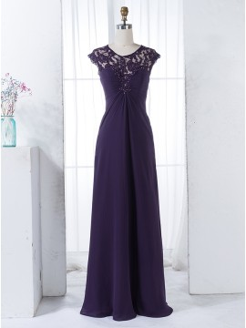Sheath Round Cap Sleeves Dark Purple Ruched Bridesmaid Dress with Lace Beading