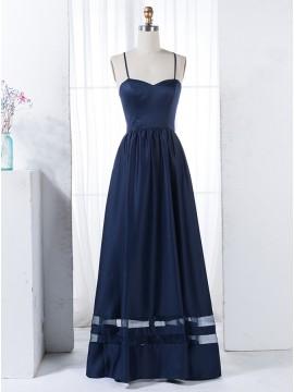 A-Line Spaghetti Straps Criss-Cross Straps Dark Blue Bridesmaid Dress with Pleats