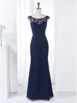 Sheath Scoop Cap Sleeves Dark Blue Lace Bridesmaid Dress with Beading