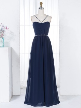 A-Line Spaghetti Straps Dark Blue Ruched Bridesmaid Dress with Beading