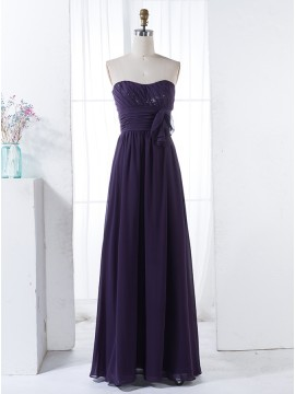 A-Line Sweetheart Dark Purple Chiffon Bridesmaid Dress with Sequins Ruffles