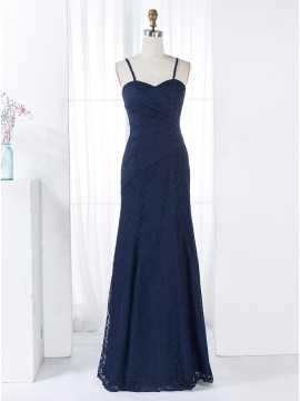 A-Line Spaghetti Straps Navy Blue Lace Ruched Bridesmaid Dress