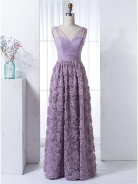 A-Line Illusion Straps Lavender Lace Bridesmaid Dress with Pleats