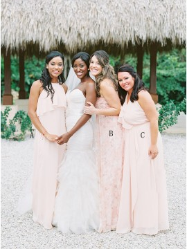 Mismatched Long Pearl Pink Chiffon Bridesmaid Dress with Ruffles