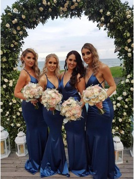 Mermaid Spaghetti Straps Backless Sweep Train Blue Bridesmaid Dress with Ruched