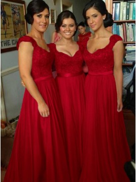 Elegant Scoop Cap Sleeve Dark Red Long Bridesmaid Dress with Beading and Lace