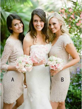 Sheath Bateau 3/4 Sleeves Above-Knee Light Champagne Lace Bridesmaid Dress