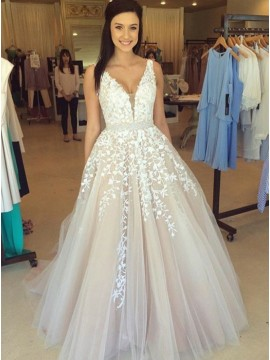 A-Line V-Neck Light Champagne Prom Dress with Beading Appliques