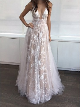 A-Line Deep V-Neck Long Light Champagne Prom Dress with Lace