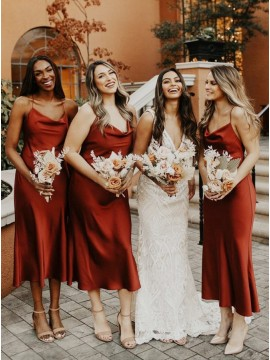 A-Line Cowl Sleeveless Tea-Length Rust Bridesmaid Dress